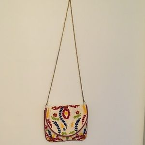 Handbags - Floral Embroidered Cream Crossbody Bag